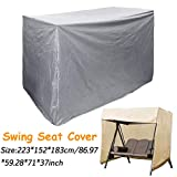 Slimerence Outdoor Patio Swing Chair Cover, Plus Size 88'' w x 60'' d 72'' h Water-Resistant 3 Triple Seater Hammock, Garden Veranda Accessories, Silver