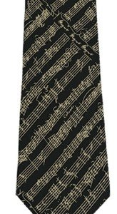 Unisex Adult Mozart Music Notes Silk Necktie - Black