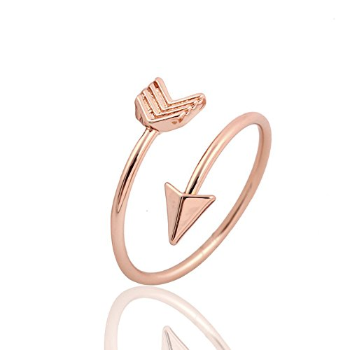 METTU Silver and Rose Gold Open Adjustable Love Arrow Ring for Girls (Rose Gold)
