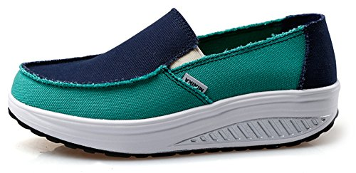 Ausom Womens Slip-on Swing Wiggen Casual Canvas Schoenen Platform Afvallen Fitness Walking Sneaker Zwart Groen