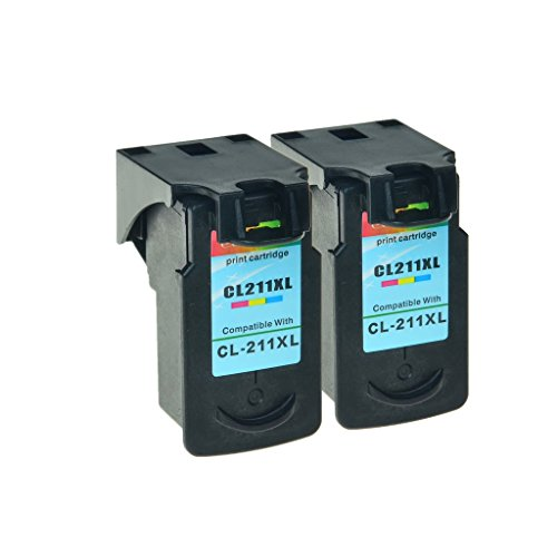 SuperInk 2PK Remanufactured Replacement CL-211XL Tri-color Ink Cartridge use with PIXMA MP280 MP230 iP2700 MP495 MP250 MX410 iP2702 MX340 MP240 MP270 MX420 MX360