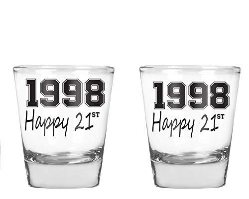 AW Fashions 1998 Happy 21st Birthday - 21st Birthday Gift - 2 Pack Round Set of Shot Glass]()