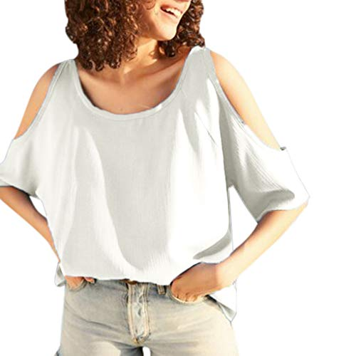 Women's Casual Cold Shoulder Tunic Tops Plain O Neck Short Sleeve Loose Chiffon Blouse T-Shirts White