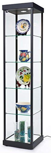 Displays2go Glass Retail Store Cabinets, Locking Swing-Open Door, Tempered Glass Shelves, Laminated MDF Build – Black (LEDSMP01BK) by Displays2go