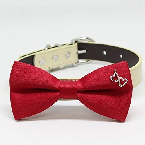 Cat bow tie collar Dog bow tie collar Handmade heart Red bow tie collar