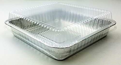 Handi-Foil Square Disposable Aluminum Foil Cake Pan w/Clear Dome Lid - REF # 308-WDL (Pack of 50 Sets) by Handi-Foil