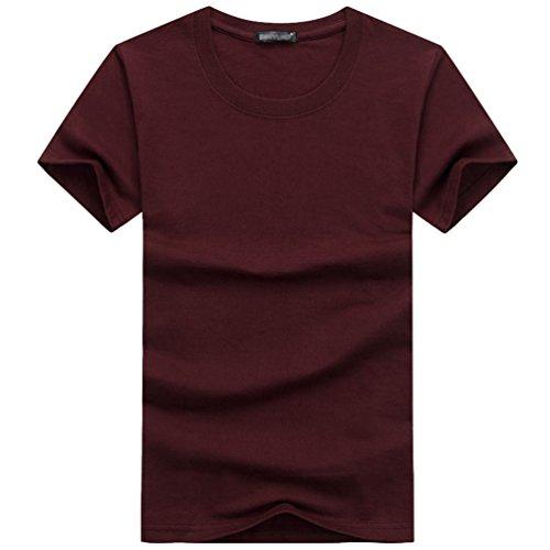 Simple shirt Casual Rond Unie T Vin Rouge Tops Couleur Manches Col Niseng Jeunes Hommes Courtes qwRXPII1