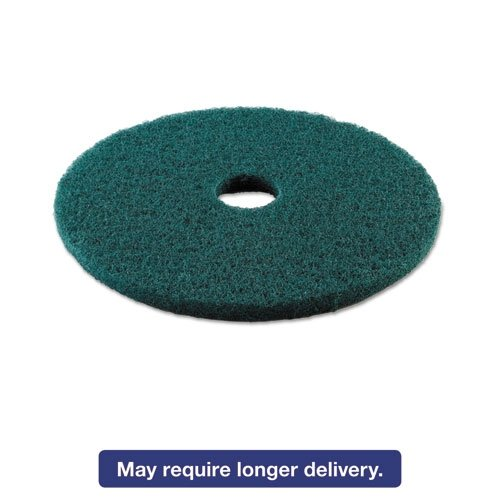 Boardwalk BWK4019GRE Standard Heavy-Duty Scrubbing Floor Pads, 19'' Diameter, Green (Case of 5) by Boardwalk
