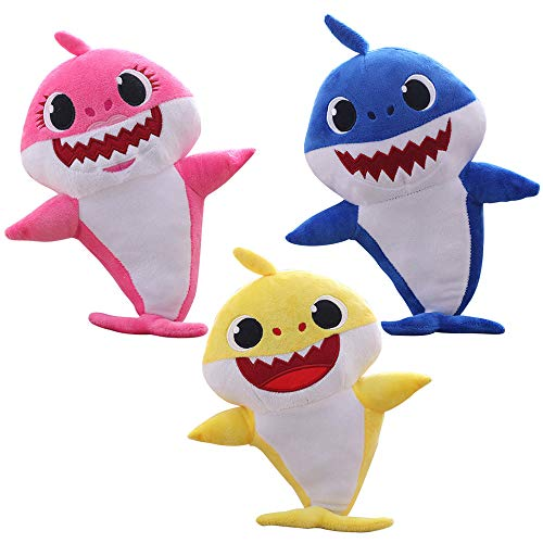 (MY BIBY Small Baby Shark Singing Plush Toy Singing Shark Toys Singing Shark Stuffed Animal,Great Gift for Baby Kids (Pink&Blue&Yellow))