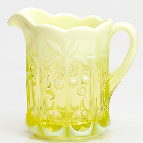 Water Pitcher Cherry & Cable Pattern Mosser Glass (Vaseline Opalescent)