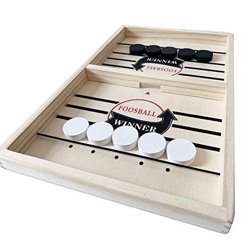 Wooden Hockey Table Game Table Games 21.7 x 17 x 1.3in Wooden Hockey Game Sling Puck Game Foosball Winner Board Game Fast Sling Puck Game Family Play Toys for Adults and Children