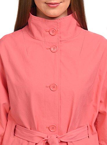oodji Collection Mujer Abrigo Abierto Cuello Mao Rojo (4300N)