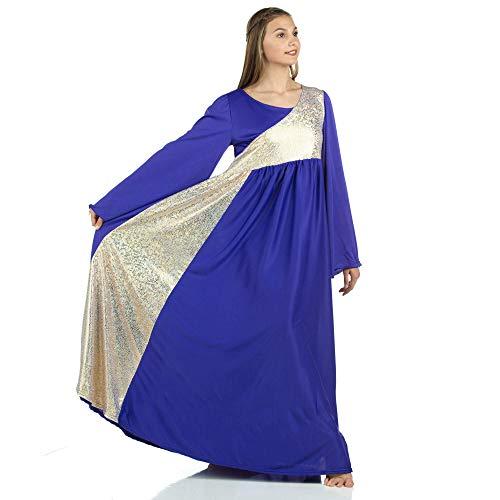 Danzcue Womens Shimmery Asymmetrical Bell Sleeve Dance Dress, Deep Purple-Gold, - Dresses Dance Liturgical
