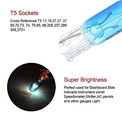 cciyu 20 Pack Blue T5 17 86 206 Halogen Light Bulb Instrument Cluster Gauge Dash Lamp 12V: Automotive
