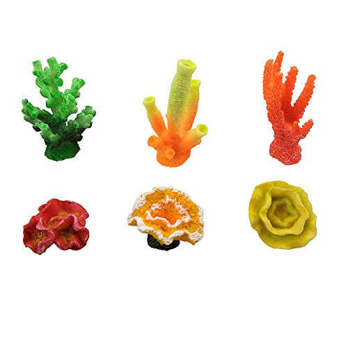 CSPRING Artificial Coral, Multicolor Mini Fake Coral Reef Ornament for Decor Aquarium Fish Tank, 6 Counts by by CSPRING