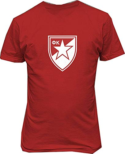 (Conla Mens FC Crvena Serbia Red Star Belgrade Soccer Football Custom Cotton Tee Shirt)