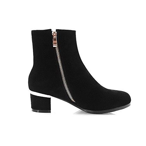 AgooLar Damen Reißverschluss Mittler Absatz Gemischte Farbe Stiefel mit Metallisch, Schwarz, 35