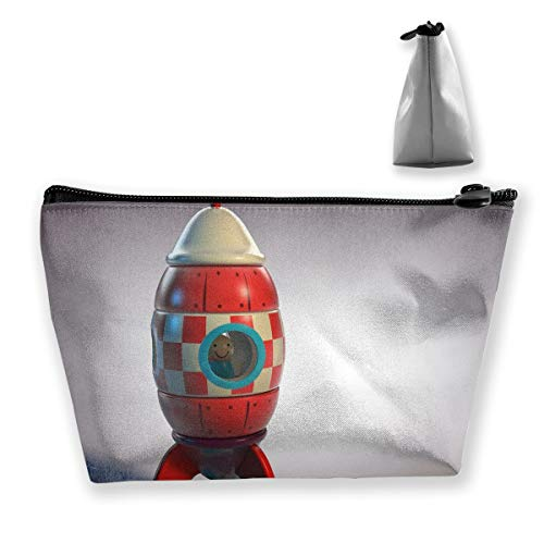 Makeup Bag Cosmetic Rockets Abstract Shape Portable Cosmetic Bag Mobile Trapezoidal Storage Bag Travel Bags with Zipper ()