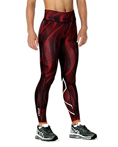 2XU Women's Mid-Rise Print Compression Tights (Tomato Vertical curve/White, X Large)