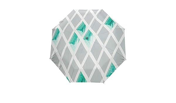 Argyle Green Diamond Pattern Anti-snow And Rainproof Folding Travel Out UV Protection Automatic Tri-fold Umbrella