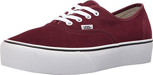 Vans Authentic Platform 2.0 Suede Port Royale Red White Fashion Sneakers Shoes (5.5 Women / 4 Men M US)