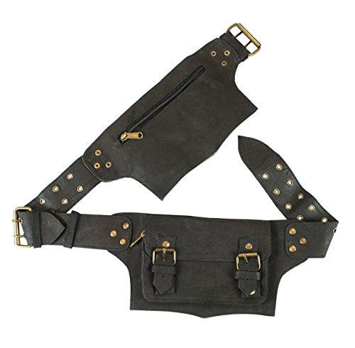 (Historical Emporium Leather Steampunk Multi Pocket Utility Belt Regular Matte Black)