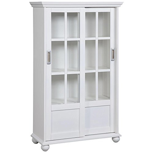 (Ameriwood Home Aaron Lane Bookcase with Sliding Glass Doors, White White)