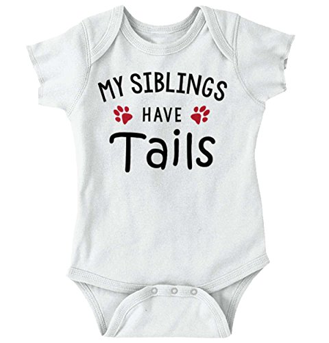 Brisco Brands Sibling Tail Funny Animal Cute Shirt   Baby Gift Idea Dog Cat Romper Bodysuit
