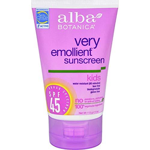 4 Pack of Alba Botanica Natural Very Emollient Sunscreen for Kids - SPF 45 - 4 oz - - -