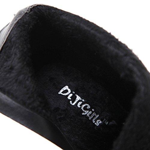 Btrada Dames Winter Trendy Rits Side Enkellaarzen Bontvoering Klinknagel Puntige Stiletto Kitten-hak Pumps Zwart