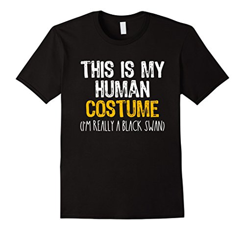 Black Halloween Swan Male Costume (Mens This Is My Human Costume Black Swan Halloween Funny T-shirt Small)