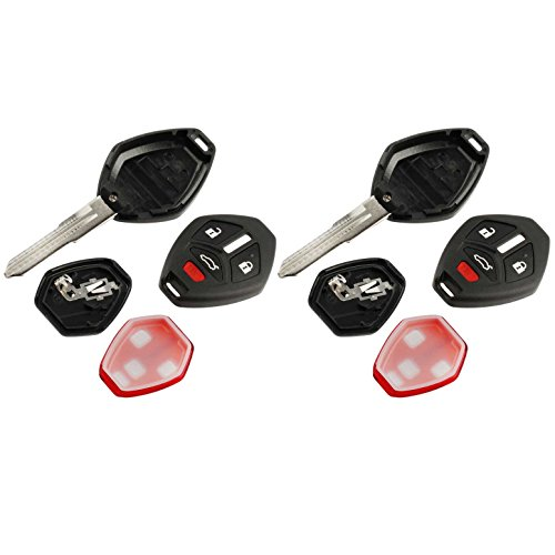 Key Fob Keyless Entry Uncut Remote Shell Case & Pad fits Mitsubishi 2007-2012 Eclipse / 2007-2012 Galant / 2007-2015 Lancer, Set of 2