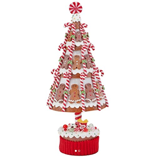 (Claydough Gingerbread Christmas Tree with Candy Canes and Gingerbread Men, 15.5 Inch)