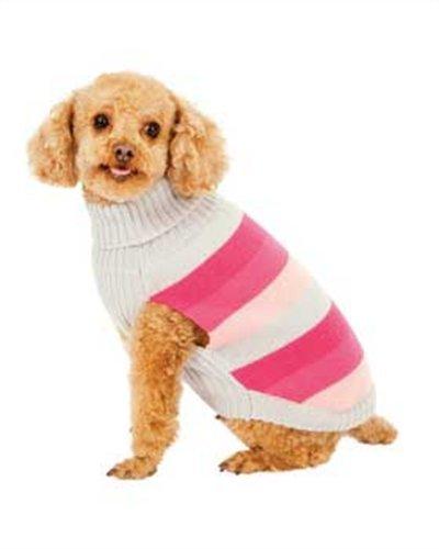Fashion Pet Pink Best in Stripe Dog Sweater Medium, My Pet Supplies