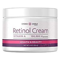 Vitamin World Retinol Cream 100,000 IU 8 oz, Vitamin A, Face Cream