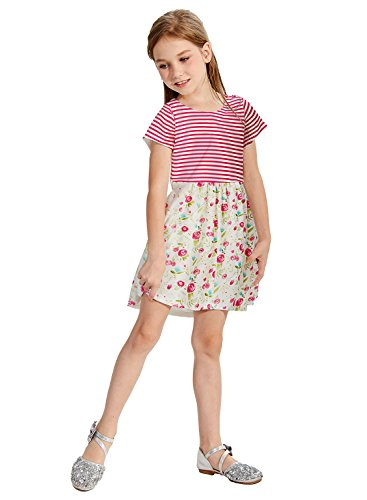 Uideazone Girls Floral Printed Short Sleeve Flare Dress Casual Summer Short Dresses Age 6-7 Years