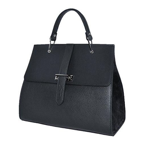 BORDERLINE - 100% Made in Italy - Starre Tasche Frau aus echtem Leder - ANNA Schwarz u73MGbfRR