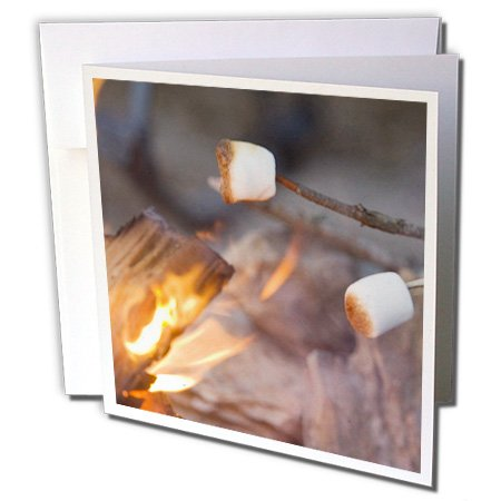 3dRose Marshmallow roasting in campfire, Whitefish Montana - US27 CHA1598 - Chuck Haney - Greeting Cards, 6 x 6 inches, set of 12 (gc_91807_2)