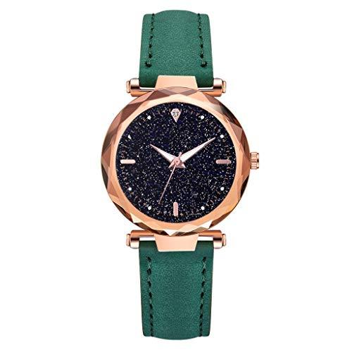 Luxury Ladies Rhombus Glass Diamond Watch Starry Sky Leather Belt Luminous Watch