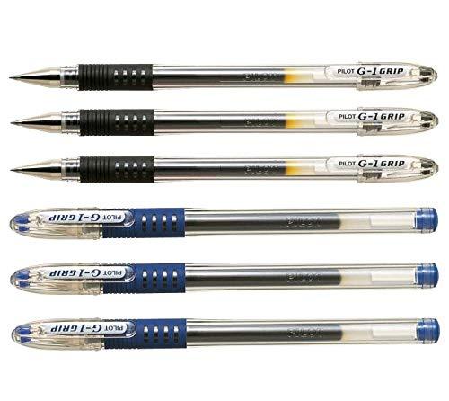Pilot Pens G1 Gel roller ballpoint Bundle Blue & Black color 07 medium fine point - 6 Count