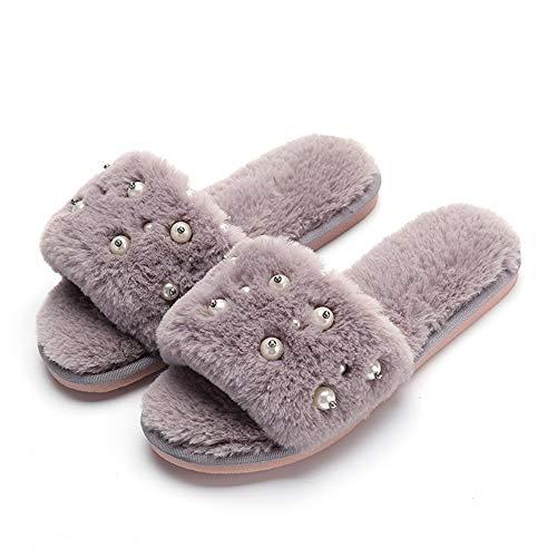 liviana y adecuadas invierno suaves hotel Zapatillas Zapatillas Zapatos planas de abierta cómodas Zapatillas mujer transpirables para Gris de casa de de punta de de para antideslizantes viajes mujer y in wwvaq81