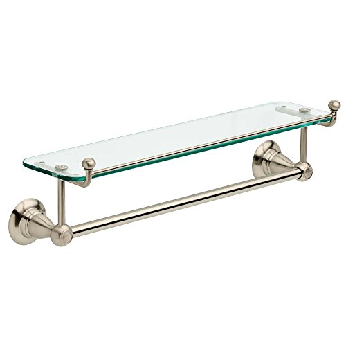 (Liberty Hardware Delta Porter 18 in. Towel Bar with Glass Shelf in Brushed Nickel-78410-BN )