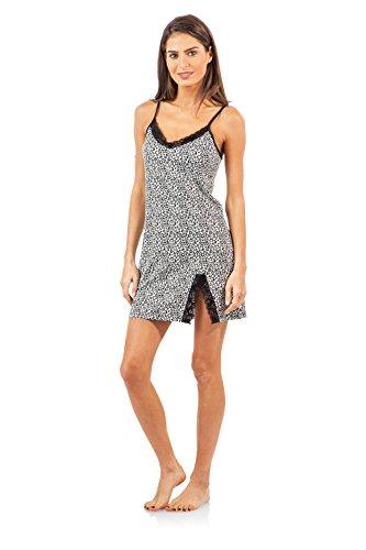 Printed Lace Trim Camisole - Casual Nights Women's Sleepwear Lace Trim Slip Camisole Nightie - Black Animal Print - Medium
