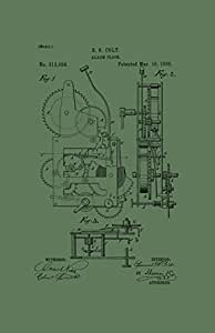 "Framable Patent Art Retro Alarm Clock Vintage 24"" X 36"" Poster Print Hunter, Green"