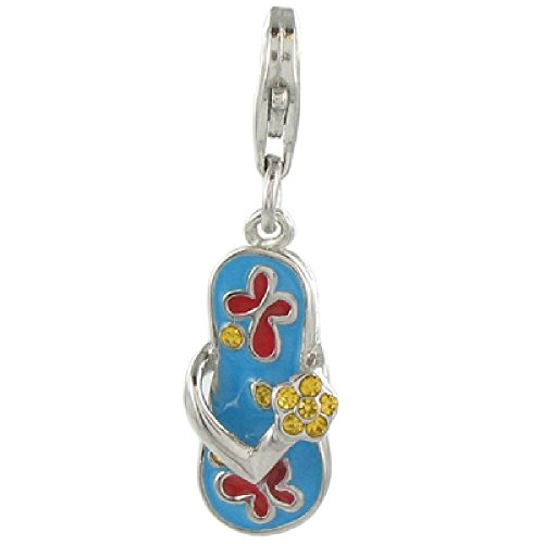 Quiges 925 Sterling Silver Yellow CZ and Blue Red Enamel Flip Flop Lobster Clasp Charm Pendant