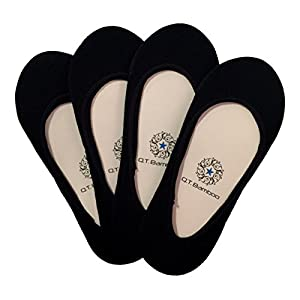 Q.T. Bamboo Women's No Show Socks Invisible Hidden Liners Non Slip Low Cut (Black 4 Pack)
