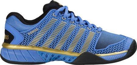 K-Swiss Women's Hypercourt Expr 50th Tennis Shoe, Black/Ultramarine/Gold, 10 M US