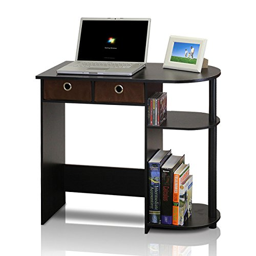 Computer Desk for Small Spaces Home Study Writing Laptop Table Drawers Workstation (Espresso / Black / Brown) by Wildon Home