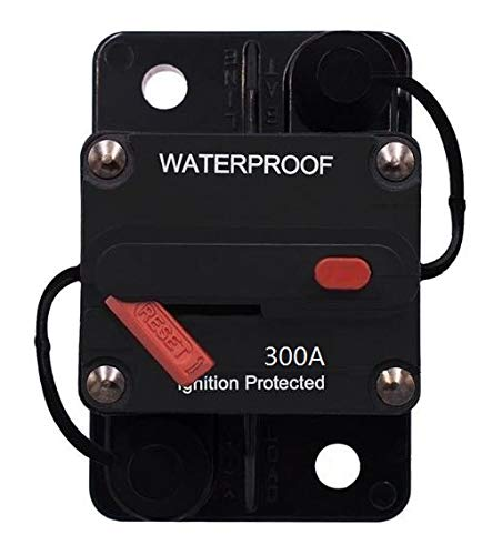 - ANJOSHI 300 Amp Waterproof Circuit Breaker 30A-300A with Manual Reset Inline Fuse Holder for Amps Protection Marine Trolling Motors Boat ATV Manual Power Home Solar System Replace Fuses 12V-36VDC