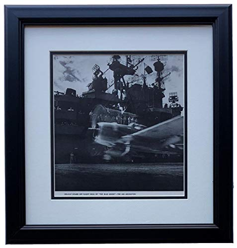 Hellcat Roars Off Flight Deck Of The Blue Ghost USS Lexington Framed 17x16 WWII Photo